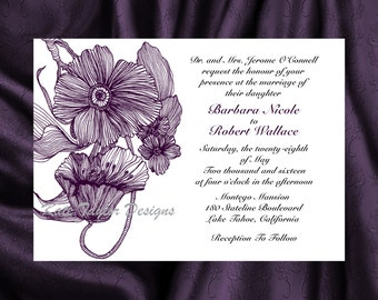 Flower Floral Wedding Invitation & RSVP  - Floral Wedding Invitation and RSVP -  Poppy - Flower Design 14