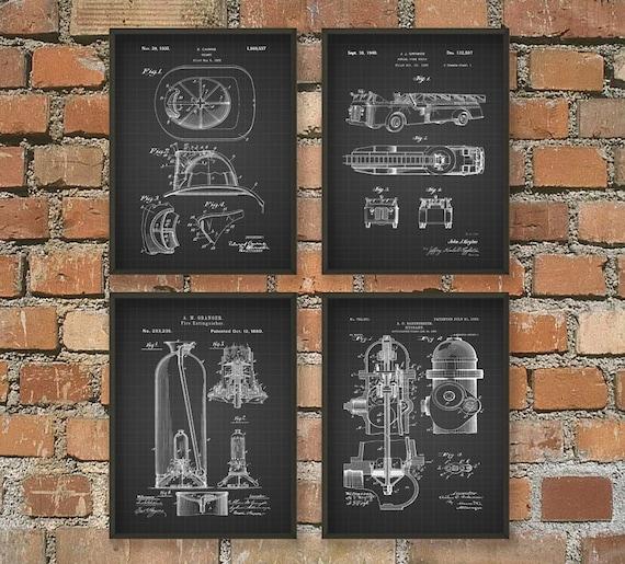 Firefighting Patent Prints Set Of 4 Firefighter Art Postersrhetsy: Fireman Home Decor At Home Improvement Advice