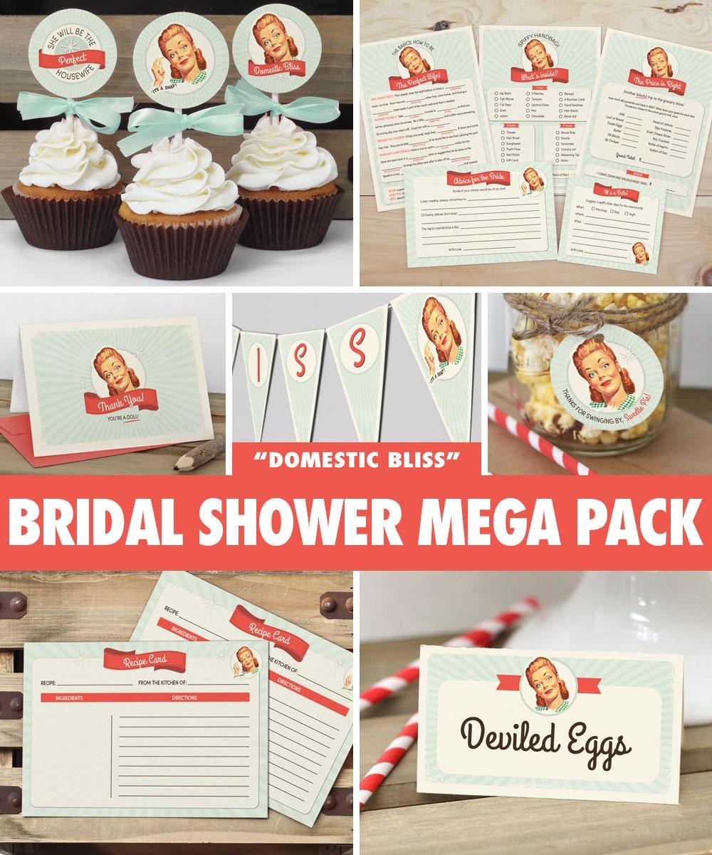50s housewife bridal shower mega pack instant download retro