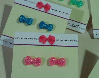 Hypoallergenic Stud Earrings: Sparkly Bows - select your color!