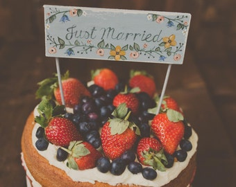 Hand Painted Wedding Cake Topper Just Married