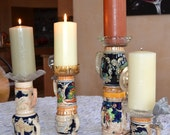 Genuine German Beer Stein Candle Holders made with Vintage Ashtrays for Bar, Mancave