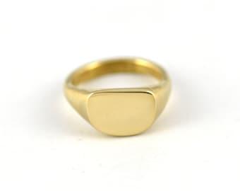 Minimal Brass Signet Ring - Modern Arc Ring