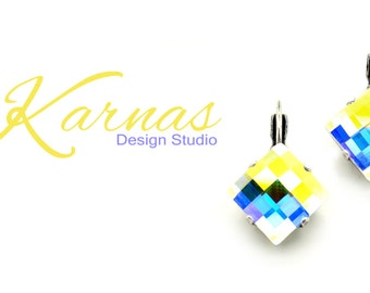 AB CHESSBOARD 12mm Square Drop Earrings Made With Swarovski Elements *PIck Your Finish *Karnas Design Studio *Free Shipping*
