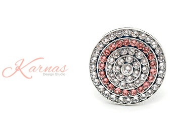 THE PARTY'S HERE Ultra Shimmer Pave Adjustable Ring Made With Swarovski Elements *Antique Silver *Karnas Design Studio *Free Shipping*