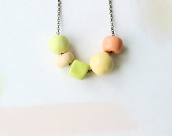 Geometric necklace. Clay bead necklace. Short necklace. Clay necklace. Beaded necklace. Asymmetrical necklace. Beads necklace. Bib necklace