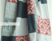 SaLe!! PaTCHWoRK QUILT BLANKET THROW - Ready to SHiP - Gift Idea - QuiLT, Red, Grey, Shabby Chic, Unisex,  Modern, Handmade, Blanket Quilt
