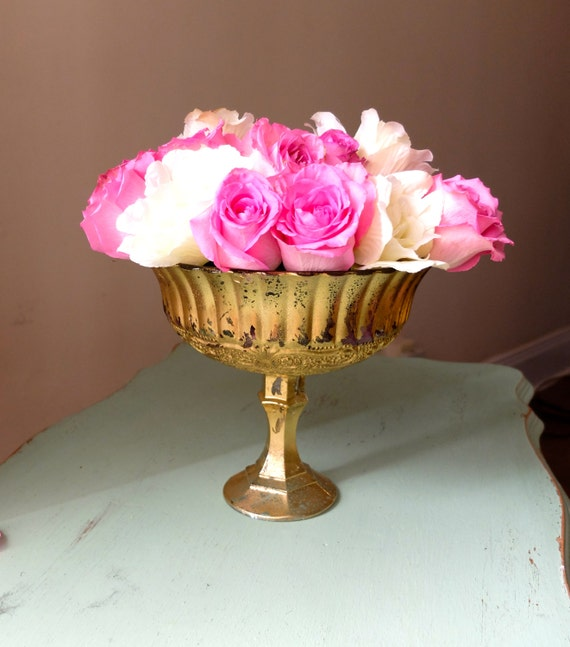 Wedding centerpiece mercury glass vase gold