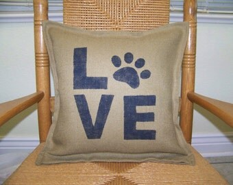 Love paw print pillow, Dog pillow, Burlap pillow, Pet Pillow, stenciled pillow, Dog lover gift, FREE SHIPPING!