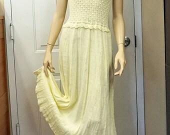 ORGANIC LINEN DRESS Summer Sundress Linen Long Dress Short Sleeve Dress Flax Casual Mid-Calf Eco Dress Yellow Lemon Dress Gauze Linen Dress