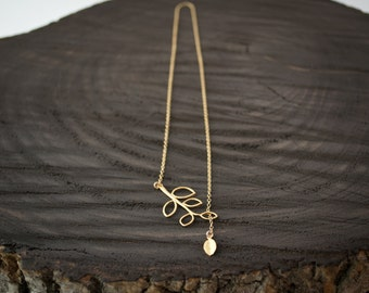 Leaf Charm Slip Through Leaves Branch Lariat Necklace / Gold Filled Chain