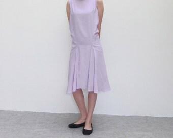 Bamboo silk drop-waist pleated sleeveless formal dress