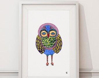 Blinky Owl, Watercolor Art Print