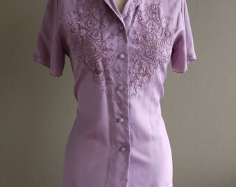 "Vintage Retro 1970s 1980s Blouse Mauve, Lavender, Purple ""Rose Brand"" Hand Embroidered Pure Asian Silk"