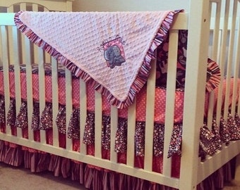 Custom Bumperless Crib Bedding Safari / Zoo / Jungle Personalized 4-PC Set
