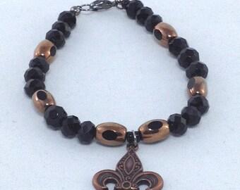 Black and Bronze Fleur de lis Bracelet