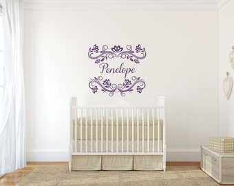 Girl Name Vinyl Decal Custom Name Decal Girl Name Decal Girl Name Wall Decal Baby Girl Nursery Decal Personalized Name Wall Decal