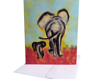 Elephant Card - Happy Birthday Mom, Dad - Just Because, Thank You