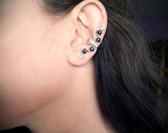 Silver Ear Cuff Black Hematite Ear Wrap