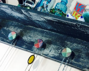 Floating shelves pallet wood accent shelving /jewelry holder /wall hanging storage shelf recycled wood distressed black 7 hand-painted knobs