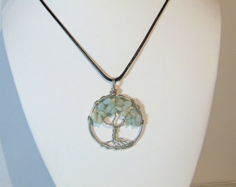 Aquamarine Tree of Life Crystal Pendant Necklace (small)