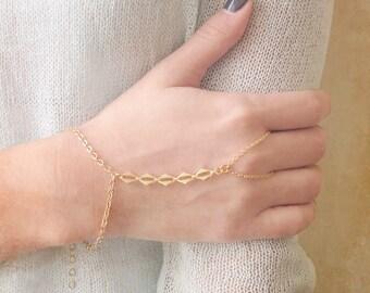 Hand Chain Bracelet - Gold Slave Bracelet - Ring Bracelet - Harem bracelet - Belly Dancers Bracelet - Gold Finger Bracelet - Slave Ring
