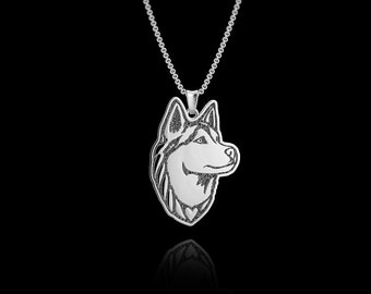 Siberian Husky Jewelry.  Sterling Silver pendant and necklace. Great for all the Dog, Puppy, and Pet Lovers