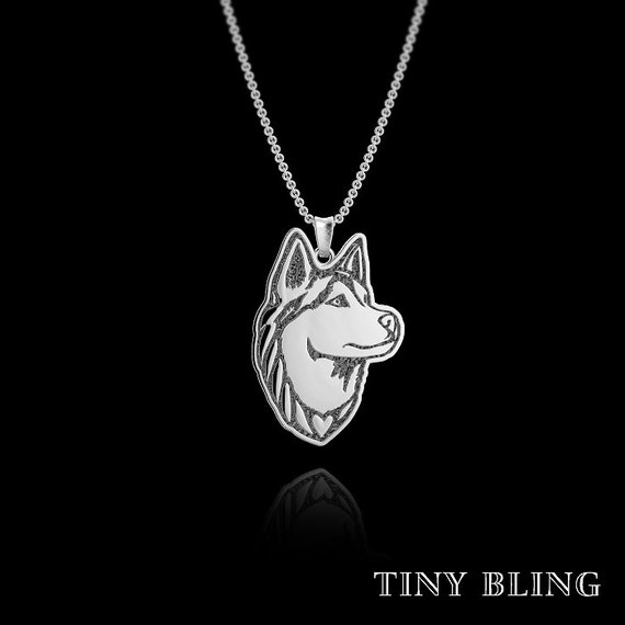siberian husky jewelry sterling silver pendant and necklace