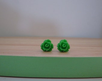 Small / tiny grass green rose earrings, green resin rose earrings, surgical stainless steel posts