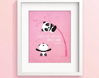 Nursery art girl, Panda nursery print, illustration, quotation, kids room decor, baby girl nursery, girls bedroom decor, new baby gift