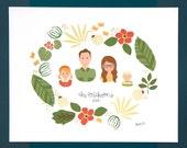 Family Portrait Custom Bespoke Illustration Art Print, Home Decor, Portraiture, Unique Gift, Gifts under 100