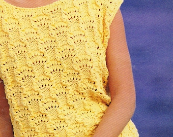 PDF short sleeved lacy sweater woman's vintage knitting pattern pdf INSTANT download pattern only pdf 1980s