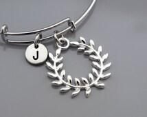 Olive wreath bangle, Silver Olive wreath, kotinos, Expandable bangle, Personalized bracelet, Charm bangle, Monogram, Initial bracelet