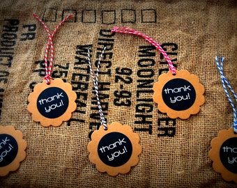 Handmade Thank You Favour Tags, Gift Tags with  Twine