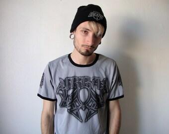 TRIBAL GREY TEE -aesthetic, emo, black, tshirt, cyber, gothic, club kid, metal, 90s, internet, tumblr, ribbed, vetements, death-