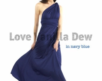 Bridesmaid Dress Infinity Dress Navy Blue Floor Length Maxi Wrap Convertible Dress Wedding Dress
