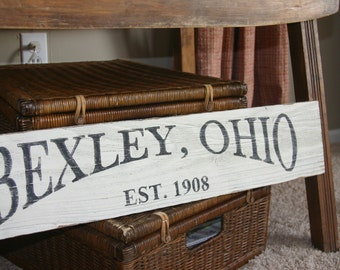 personalized city handpainted salvaged wood sign