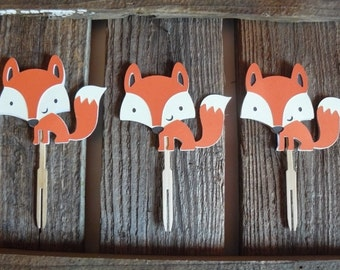 Woodland Fox Cupcake Toppers - Baby Shower, Birthday Party, Fox Party, Party Decorations