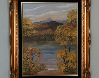 "Bob Ross Style Landscape Acrylic Painting 15.5"" x 11.5"" Wall Art Lake Mountain Trees Branches Wilderness Scene Oil Framed Golden Frame"