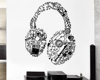 Wall Stickers Vinyl Decal Headphones Music Pop Rock Cool  Living Room Decor (m354)