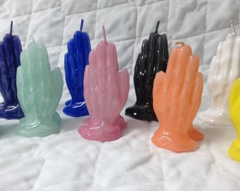 "Praying Hand Candle hand crafted, Wax Candles 3"" tall Church Religious God's Hands"