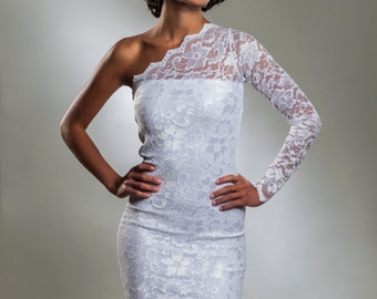One Shoulder White Lace Coctail Dress with Lace Sleeve