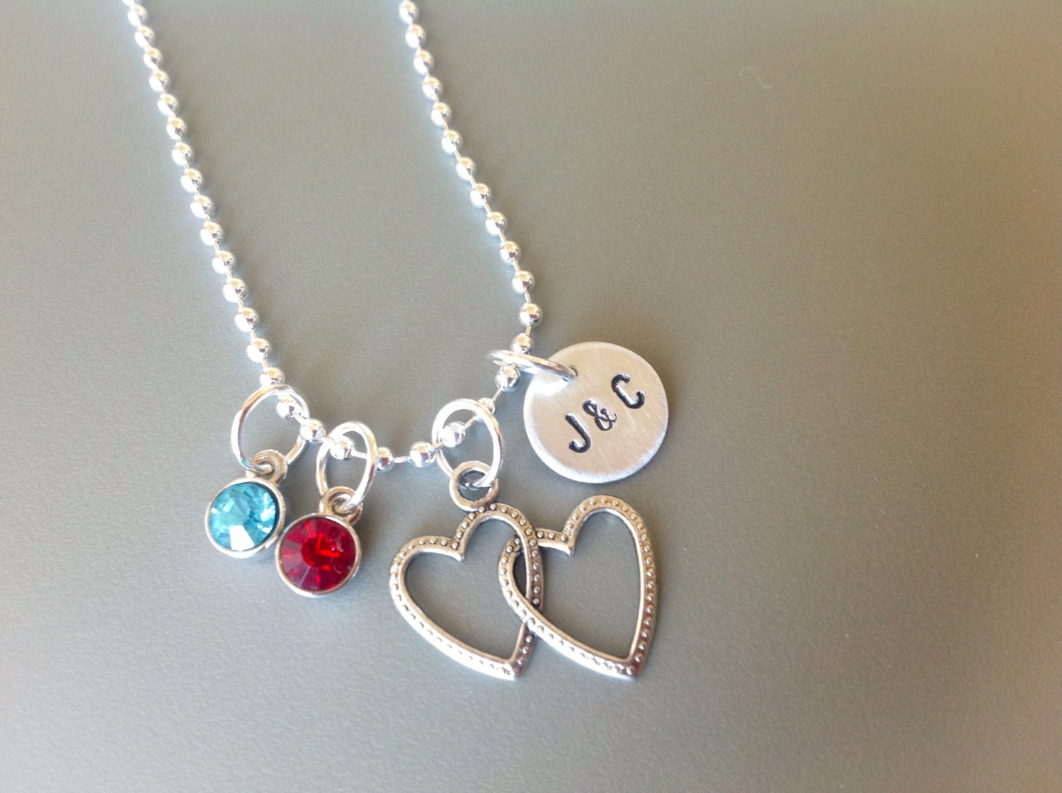two heart necklace girlfriend necklace personalized. Black Bedroom Furniture Sets. Home Design Ideas
