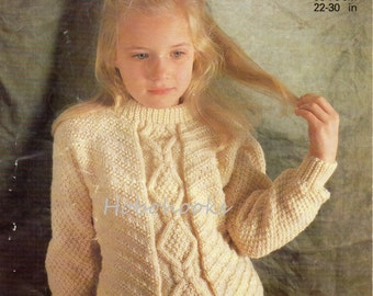 Childs Aran Jumper Knitting Pattern : Baby Knitting Pattern Baby Aran Sweater Baby Aran Cardigan