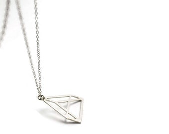 Geometric triangle 925 silver necklace triangle pendant - Hand Made to Order - 925 sterling silver minimalist pendant