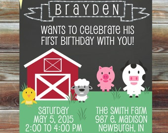 Farm Theme First Second Third Birthday Invitation - Digital Custom Chalkboard Birthday Invitation - Barn Animal Theme Birthday Party Invite