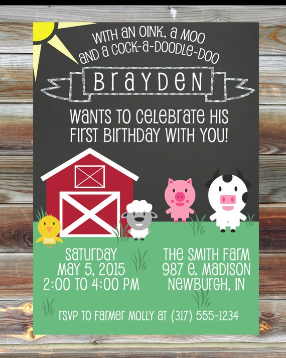 farm theme first second third birthday invitation  digital custom, Birthday invitations