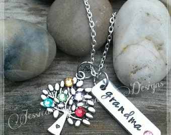 Family Tree Birthstone necklace* You choose up to 7 birthstones* Hand Made * Birthstone Crystals* Grandmother's Necklace *Mother's Necklace
