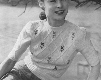 Vintage 1940s Knitting Pattern Ladies Embroidered Jersey Jumper - digital download