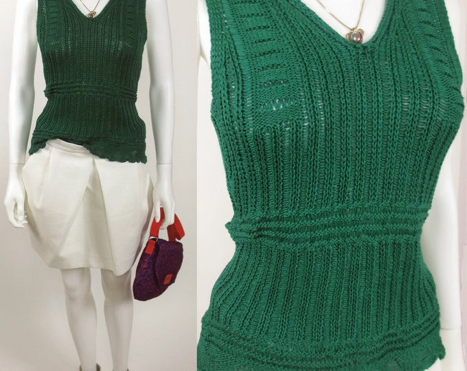 70s Dropped needle cotton knit shell top